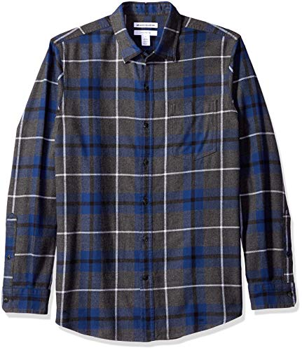 Amazon essentials camicia regular in flanella a manica lunga uomo, blu (blue/charcoal heather plaid), xx-large