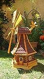ÖLBAUM Premium Holzwindmühle XXL, wetterfest,robust mit Bitumen, MIT WINDFAHNE Windrad-Seitenruder, Windmühlen Garten, imprägniert + kugelgelagert 1,30 m groß rot dunkelrot edelrot weinrot