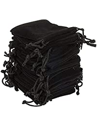 SYGA Set of 10 Black Velvet Cloth Jewelry Pouches/Drawstring Bags for Jewelry Gift