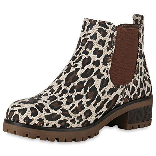 SCARPE VITA Mujer Botina Botines Chelsea 170753 Leopardo 36
