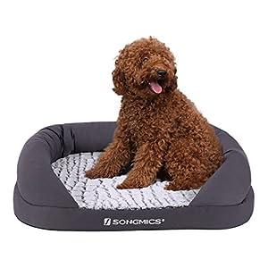 Songmics Lit chien Panier Coussin Canapé pour chien Revêtement en peluche douce Lavable en machine avec M PGW50G