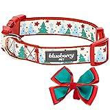 Blueberry Pet Weihnachtszeit Halsbänder 1,5cm S Momente der Fantasie Begrüßen der Natur Designer Hundehalsband mit Abnehmbarer Fliege