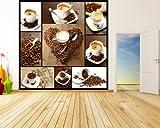 selbstklebende Fototapete - Kaffee Collage - 100x100 cm - Tapete mit Kleber – Wandtapete – Poster – Dekoration – Wandbild – Wandposter – Wand – Fotofolie – Bild – Wandbilder - Wanddeko