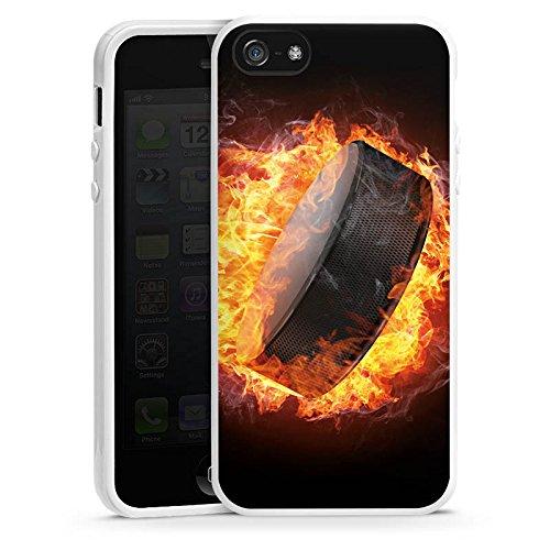 Apple iPhone SE Housse Outdoor Étui militaire Coque Hockey sur glace Flammes Palet enflammé Housse en silicone blanc
