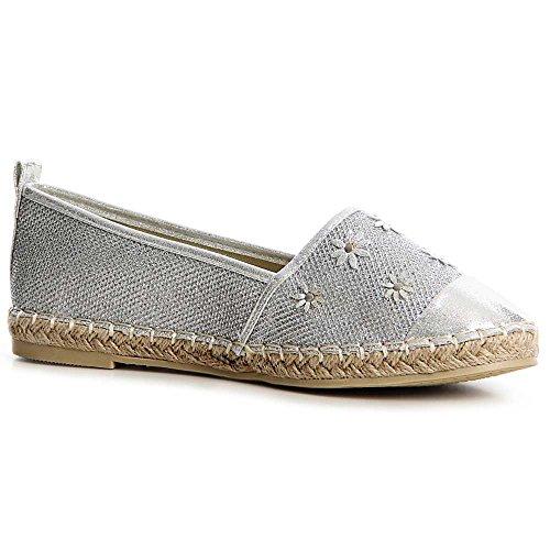 topschuhe24 , Mocassins pour femme silver