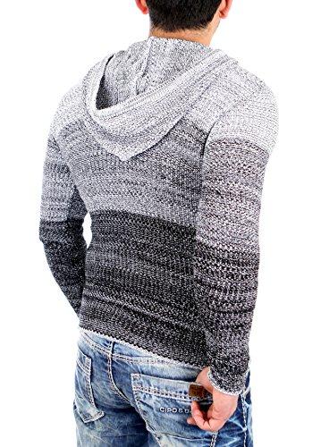 Reslad Strickjacke Herren Color-block Kapuzen-Pullover Cardigan Jacke RS-3107 Schwarz