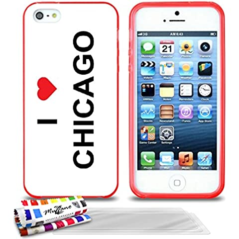 Originale Schutzschale von MUZZANO : Rot, ultradünn und flexibel, mit I LOVE CHICAGO-Muster für APPLE IPHONE 5S + 3 Displayschutzfolien UltraClear