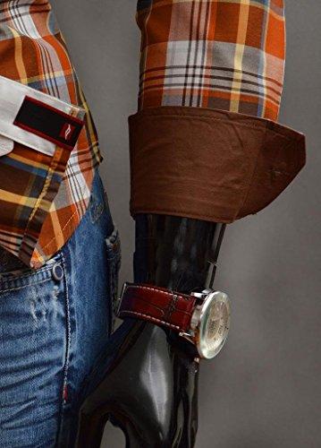 MENS CAMICIA Colletto classico Controllo del modello casuali dimagriscono BLU MARRONE ML XL XXL Marrone