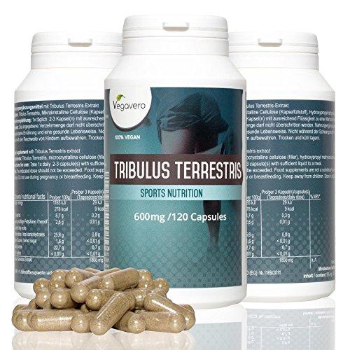 Tribulus Terrestris Vegavero | Completamente Naturale e Vegetale | 95% di saponine | Qualità certificata | 120 capsule - 600 mg | Libido - Massa Muscolare - Energia - Produzione Testosterone | Vegan | Garanzia di soddisfazione