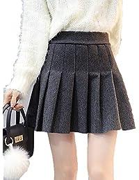 3496e1ff16 Runyue Mujer Elegante Mini Falda Otoño Invierno Lana Artificial A-Line Swing  Plisado Faldas Gris