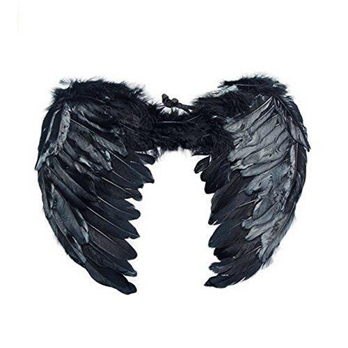 Aidle Engel Flügel aus Federn Kostüm für Halloween Karneval Cosplay Fasching (60*45cm, (Feder Schwarze Flügel Kostüm)