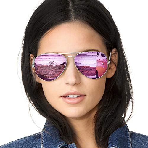 Pilotenbrille Damen Verspiegelt Sonnenbrille Polarisiert Metallrahmen 100% UVA/UVB Schutz (Silberner Rahmen Lila Linse)