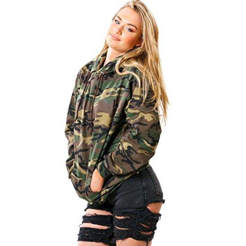 Sannysis Frauen Langarm Kapuzenpullover Camouflage Printing Sweatshirt (S, Tarnung)