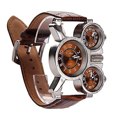 PU cuero reloj de pulsera azul Ray vidrio reloj analógico reloj Busines para Men