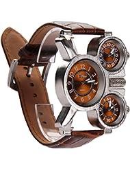 Exhibición militar deportivo cuarzo reloj reloj de pulsera cuero café correa de 3 hombres veces