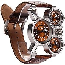 Relojes Militares Hombre,Vococal ® 3-MOVT Reloj Hombre de Cuarzo Exhibición,Militar deportivo Reloj de pulsera cuero diseño moda mecánico mano viento reloj de pulsera (Café)