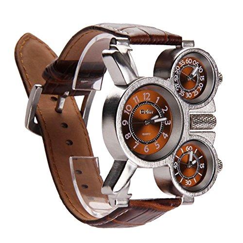 Vococal Reloj Hombre Elegante, 3-MOVT Reloj Hombre de Cuarzo Exhibición,Militar Deportivo Reloj de Pulsera Cuero diseño Moda mecánico Mano Viento Reloj de Pulsera (Café)