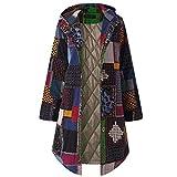 NPRADLA 2018 Damen Mantel Herbst Große Größen Winter Langarm Elegant Frauen Kapuzen Langarm Vintage Fleece verdicken Mäntel Taste Langen(Marineblau,5XL/56)