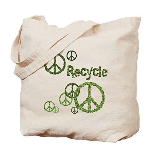 CafePress Wiederverwendbare Einkaufstasche mit Peace-Zeichen, canvas, khaki, S -