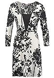 Anna Field Kleid Damen A-Linie in Schwarz-Weiß, Cocktailkleid kurz mit Ärmeln, Minikleid mit Ausschnitt, Jerseykleid Langarm, Kleider Knielang, Gr. 34