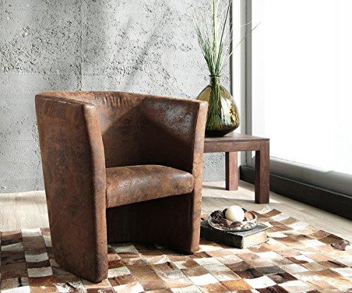 DELIFE Designsessel Goya Braun gepolstert Antik Optik Lounge Chair Sessel