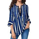 2018 Donna Moda Crop Top,Womens V Neck 3/4 maniche a strisce stampa camicetta top T Shirt,Felpa Con Cappuccio,Yesmile