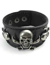 KONOV Schmuck Herren Armband, Piraten Gotik Totenkopf Schädel Leder Armreif, Echtleder, Druckknopf, Schwarz