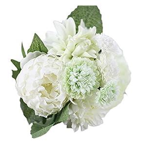 Outflower Flor de simulación Artificial Dálias Coloridas, Flores de peonía, Melaleuca Flores de decoración para el hogar…