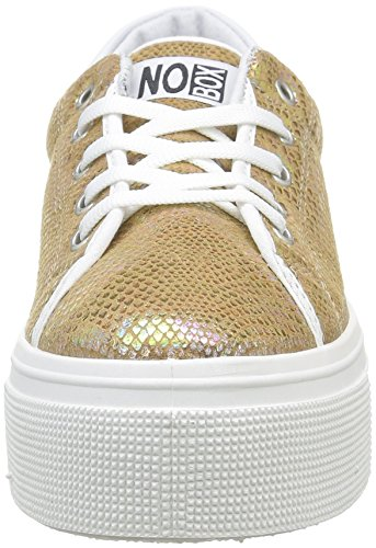 No Box Damen Alma E16 Sneaker, Schwarz Or (Snake Gold)