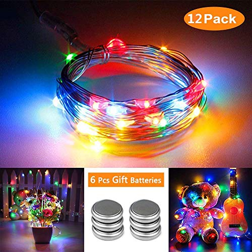 Qedertek 12 pezzi luci led a batteria, stringa luci micro 2m 20 led, luci addobbi natalizie esterno, catena luminosa impermeabile con luci colorate, luci natalizie addobbi albero di natale, patry