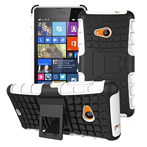 DEFENDER Hard Armor Hybrid Rubber Bumper Flip Stand Rugged Back Case Cover For MICROSOFT LUMIA 535 Dual Sim – White