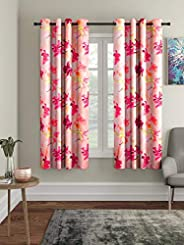 Home Sizzler 3D Flower Polyester 5 ft Window Curtain (Pink) -2 Pieces