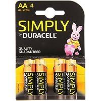 Duracell Simply Batterie alcaline, Stilo, AA, confezione 4 pezzi