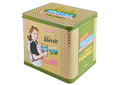 Retro Metall - Vorratsdose für Waschmittel Femme liberee 21,5 x 22 x 14 cm (Metall-waschmittel-behälter)