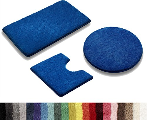 Vonella Uni Badematte | Badteppich | GRÖßEN UND Farbauswahl | 1350 g/m2 | (Royalblau, 60 x 50 cm Stand WC Vorleger)