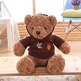 VERCART 60CM Teddybär Krieger Brown Pelz Ahorn Blätter auf Dunkelbraune Strickjacke Nettes Plüsch Spielzeug