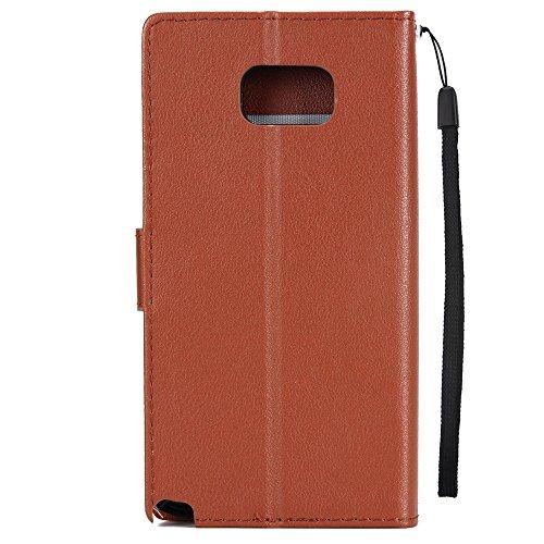 Klassische Premiu PU Ledertasche, Horizontale Flip Stand Case Cover mit Cash & Card Slots & Lanyard & Soft TPU Interio Rückseite für Samsung Galaxy Note 5 ( Color : Red ) Brown