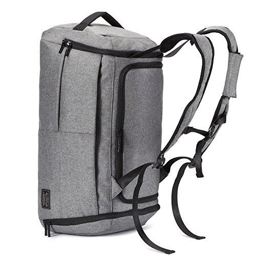 Preisvergleich Produktbild Große Kapazität Canvas Herren Sporttasche Gepäcktasche Reisetasche 15 Zoll Laptop Rucksack (# 4) (grau)