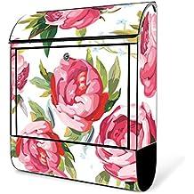 banjado Briefkasten weiß mit Zeitungsfach und Motiv Rosen Rustikal