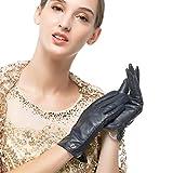 Nappaglo Damen klassische Handschuhe aus echtem Nappaleder Reines Kaschmir-Futter Winter Warm Handschuhe (M (Umfang der Handfläche:17.8-19.0cm), Dunkelmarineblau(Non-Touchscreen))