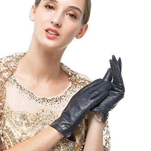 Nappaglo Damen klassische Handschuhe aus echtem Nappaleder Reines Kaschmir-Futter Winter Warm Handschuhe (XL (Umfang der Handfläche:20.3-21.6cm), Dunkelmarineblau(Touchscreen)) Xl Lange Handschuhe