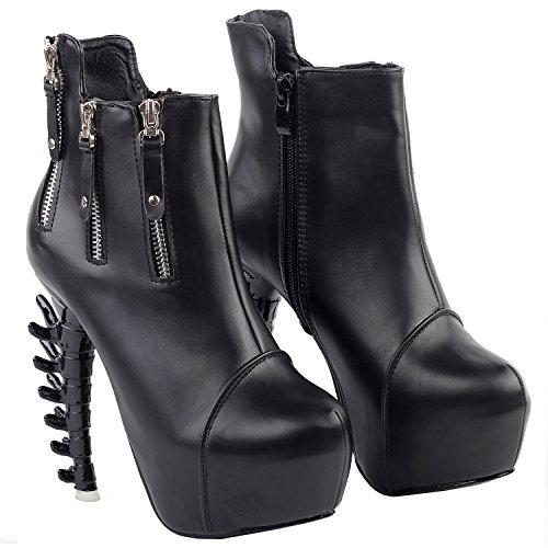 Show Story Punk-schwarzem Reißverschluss High-Top Plattform Knochen Heel Ankle Boot Bootie, LF80641 Schwarz
