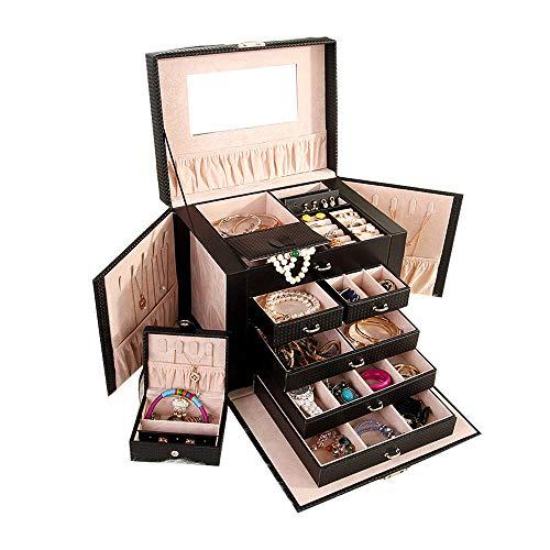 Carry On Reisekoffer (AMhuui Große Schmuckbox, Carry-on-Schmuck-Speicherbox mit eingebautem Spiegel, Reisekoffer und Sperre für Mädchen,Black)