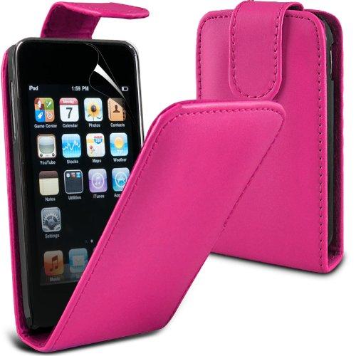 Ipod Screen Guard ((Hot Pink) Apple iPod Touch 2 Schutzmaßnahmen Faux Leather Case Cover & 3 Screen Protector Guard von Aventus * *)