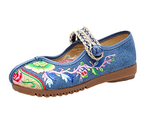Insun Damen Handgemachte Gestickte Geschlossene Ballerinas Tuch schuhe Slipper Flats Schuhe Blau 39 EU (Baumwolle-jeans Reichen)