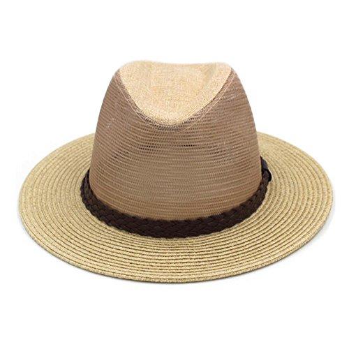 Xuping shop - Sonnenhut Männer Sommer Große Eaves Hut Mesh Atmungs Coole Hut Freizeit Jazz Cap (Farbe : D, größe : M(57-58cm))