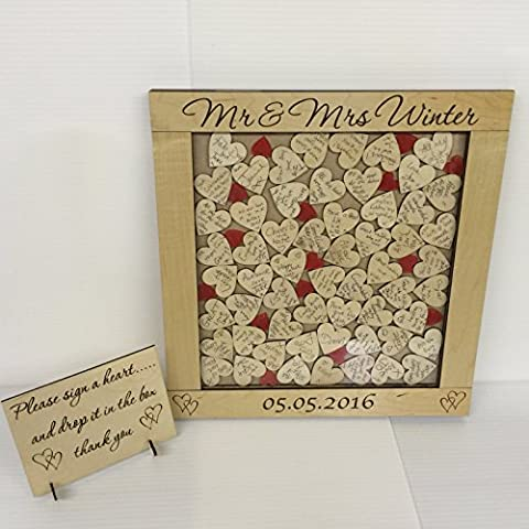 Personalizzato–74, colore: rosso, Libro degli ospiti per matrimonio 76Cuori, regalo per anniversario di matrimonio rustico Shabby Chic 39x 41Keepsake