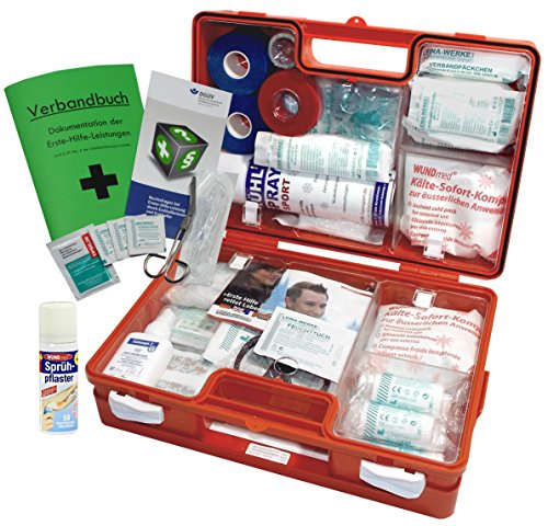 Neue Erste-hilfe - (Sport-Sanitätskoffer S2 PLUS Erste-Hilfe Koffer nach DIN 13157 + DIN 13164 + Sport-Ausstattung INKL. Sprühpflaster)