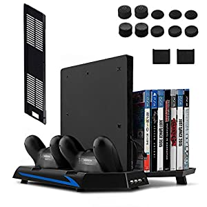 Keten Vertikaler Standfuß für PS4 Slim / PS4 mit Lüfter 2 in 1 Ladestation Playstation 4 Games Spielelagerung und 3 Port USB Hub- Ein All-In-One Bereich für alle deine Spielbedürfnisse