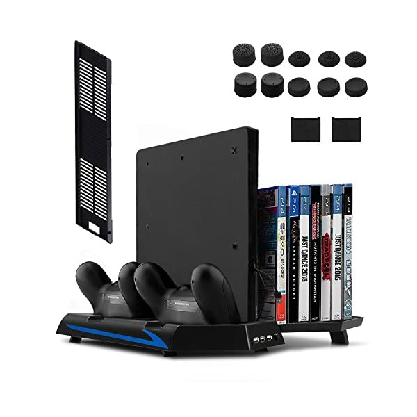 [Newest Version] Keten Vertical Stand for PS4 Slim / PS4 with Cooling Fan 2 in 1 Controller Charging Station/Game Storage 3 Port USB Hub – An All-In-One Area for All Your Gaming Needs,not for PS4 Pro 51IGxmmSPSL